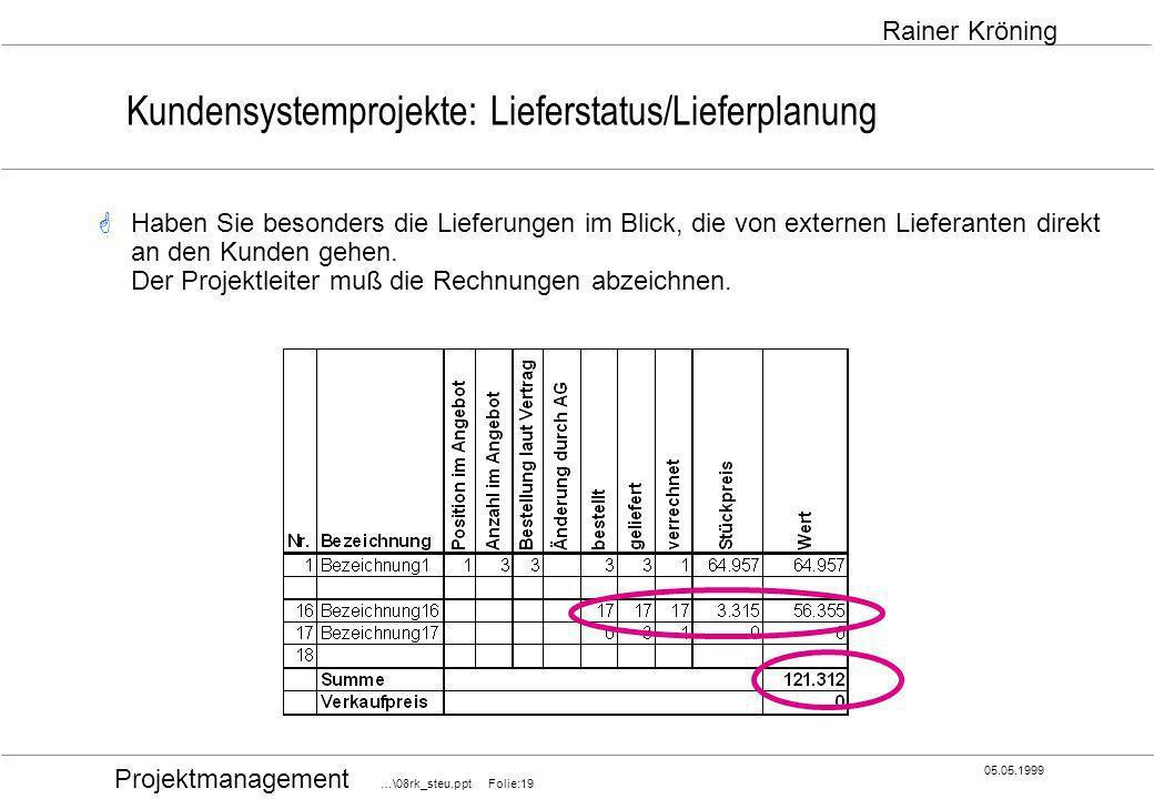 Kundensystemprojekte: Lieferstatus/Lieferplanung