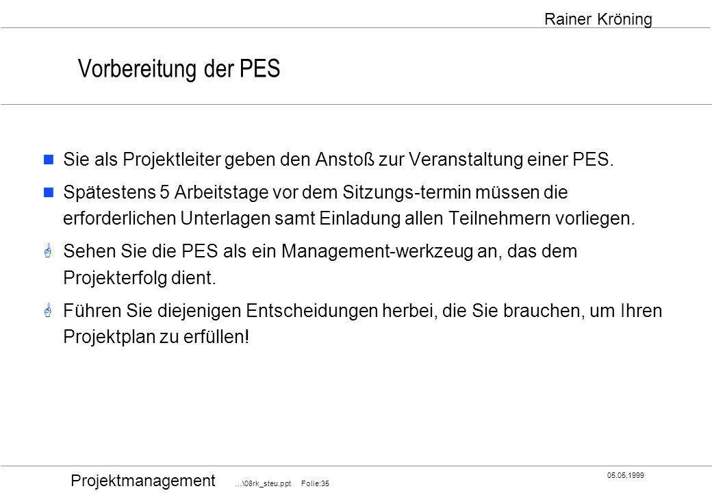 Vorbereitung der PES Sie als Projektleiter geben den Anstoß zur Veranstaltung einer PES.