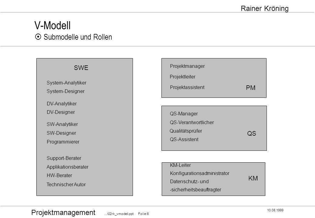 V-Modell ¤ Submodelle und Rollen