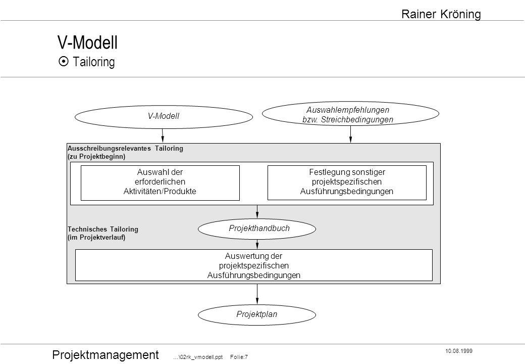 V-Modell ¤ Tailoring Auswahlempfehlungen bzw. Streichbedingungen
