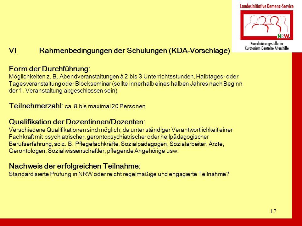 VI Rahmenbedingungen der Schulungen (KDA-Vorschläge)