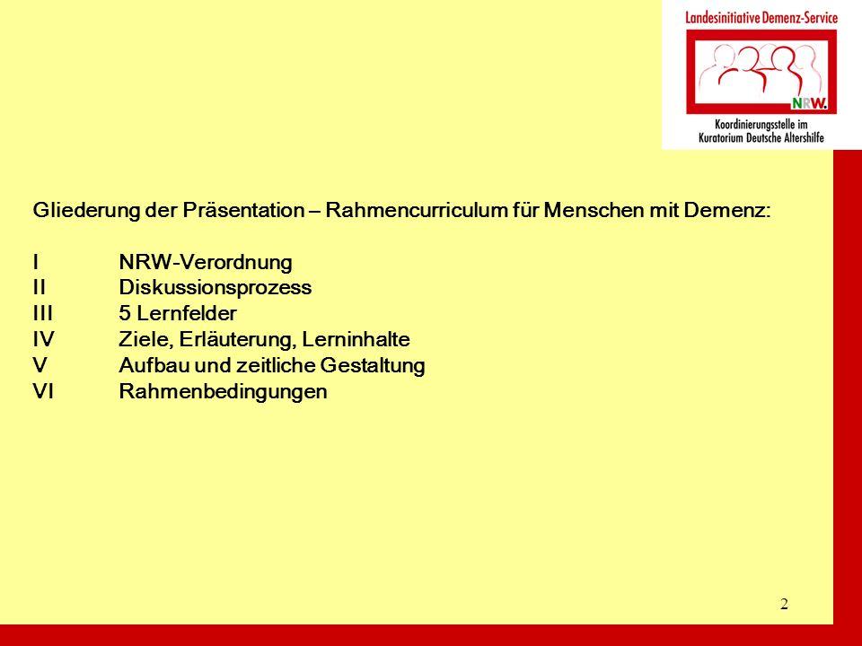 Gliederung der Präsentation – Rahmencurriculum für Menschen mit Demenz: