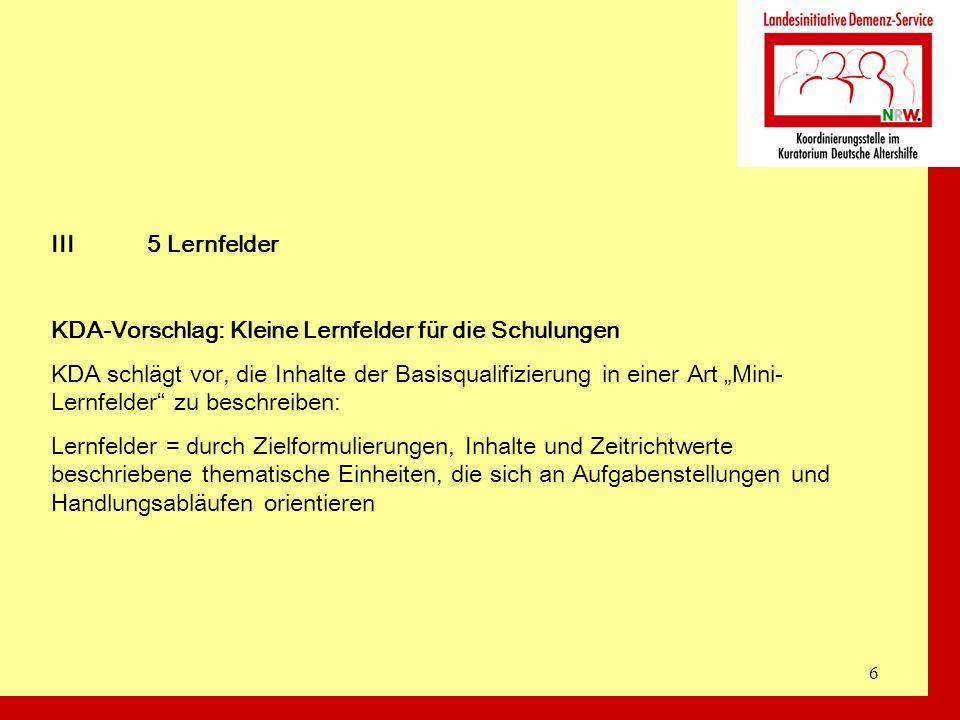 III 5 Lernfelder KDA-Vorschlag: Kleine Lernfelder für die Schulungen.