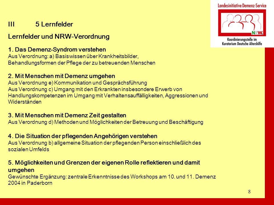 Lernfelder und NRW-Verordnung
