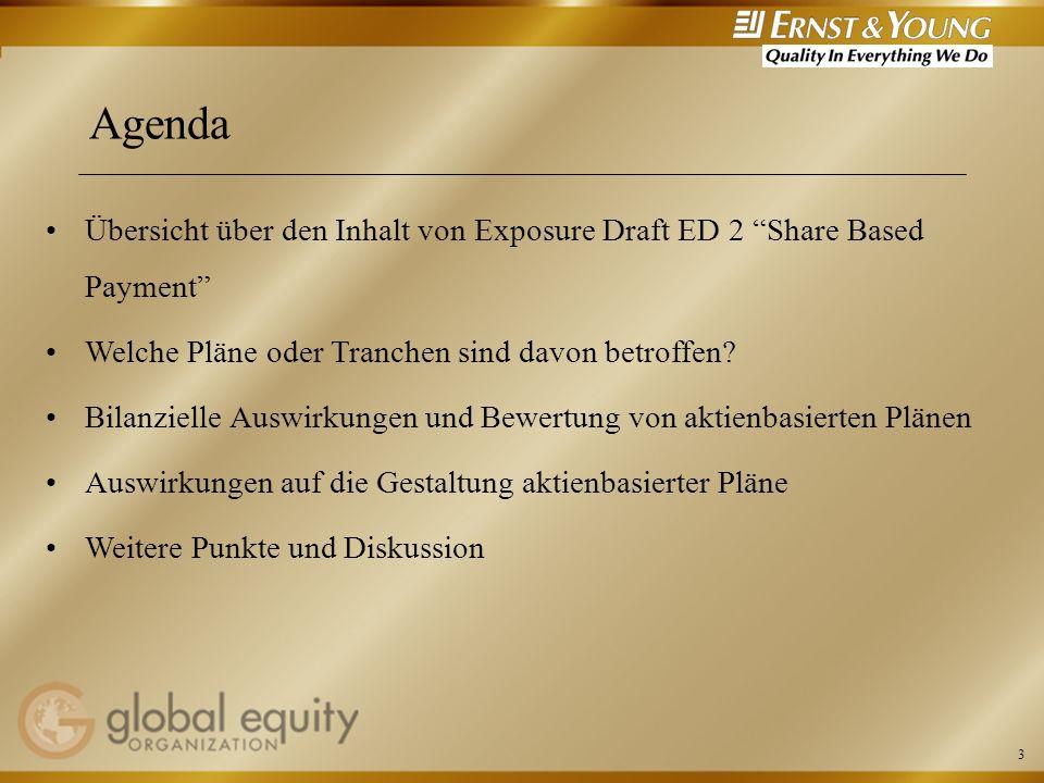 Agenda Übersicht über den Inhalt von Exposure Draft ED 2 Share Based Payment Welche Pläne oder Tranchen sind davon betroffen