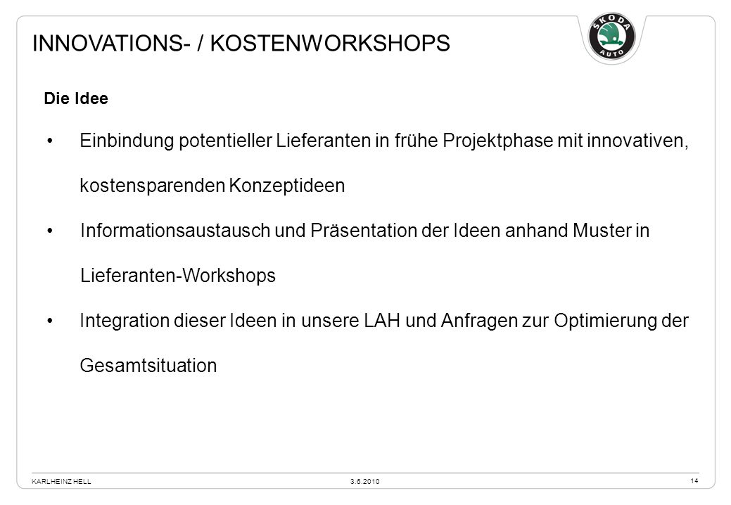 Innovations- / kostenworkshops