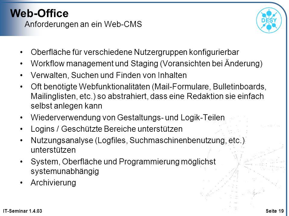 Anforderungen an ein Web-CMS