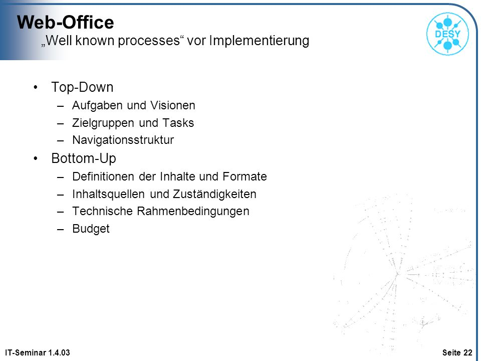 """Well known processes vor Implementierung"
