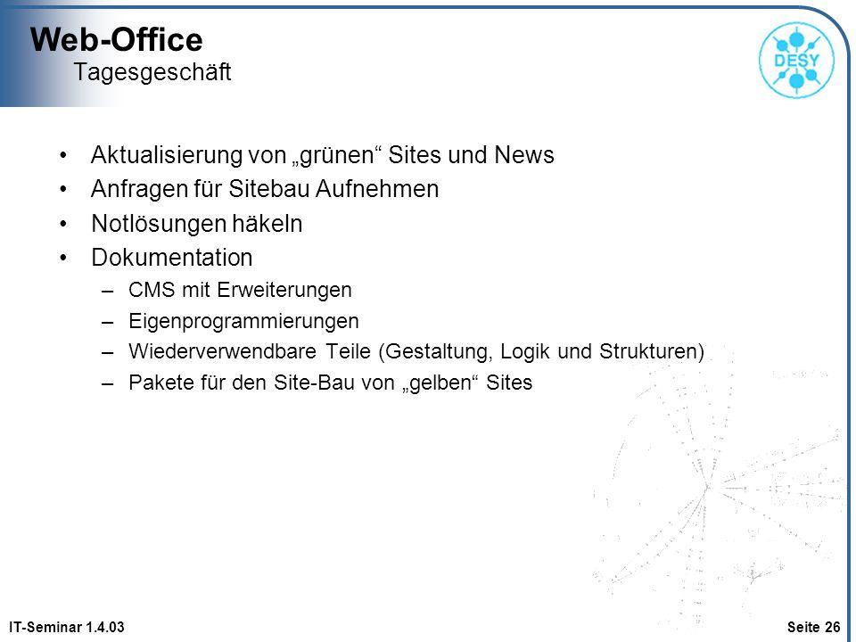 """Web-Office Tagesgeschäft Aktualisierung von """"grünen Sites und News"""