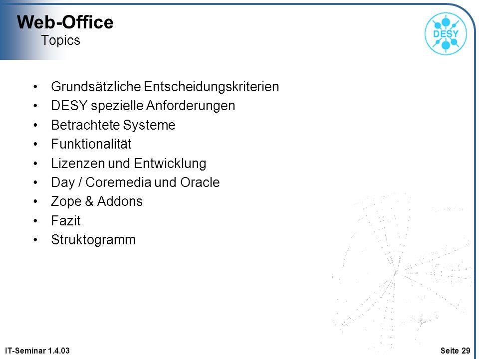 Web-Office Topics Grundsätzliche Entscheidungskriterien