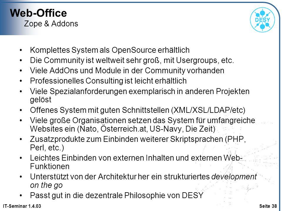 Web-Office Zope & Addons Komplettes System als OpenSource erhältlich