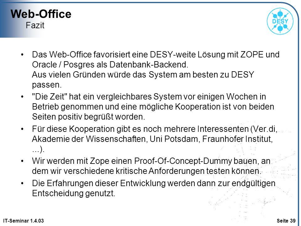 Web-Office Fazit.