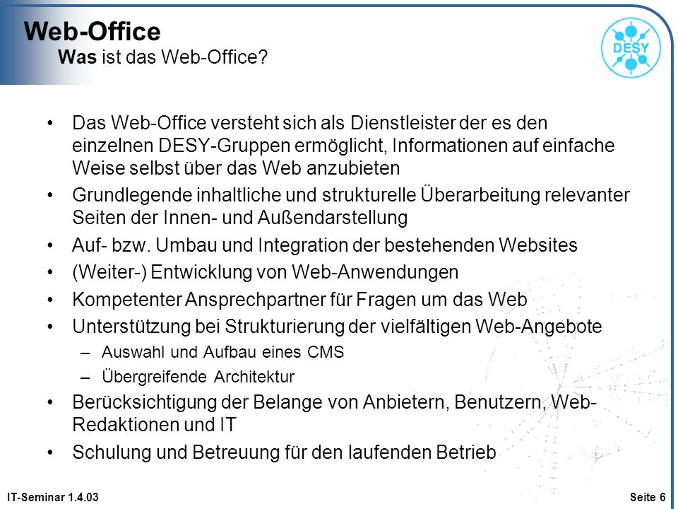 Web-Office Was ist das Web-Office