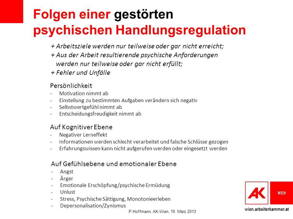 Folgen einer gestörten psychischen Handlungsregulation
