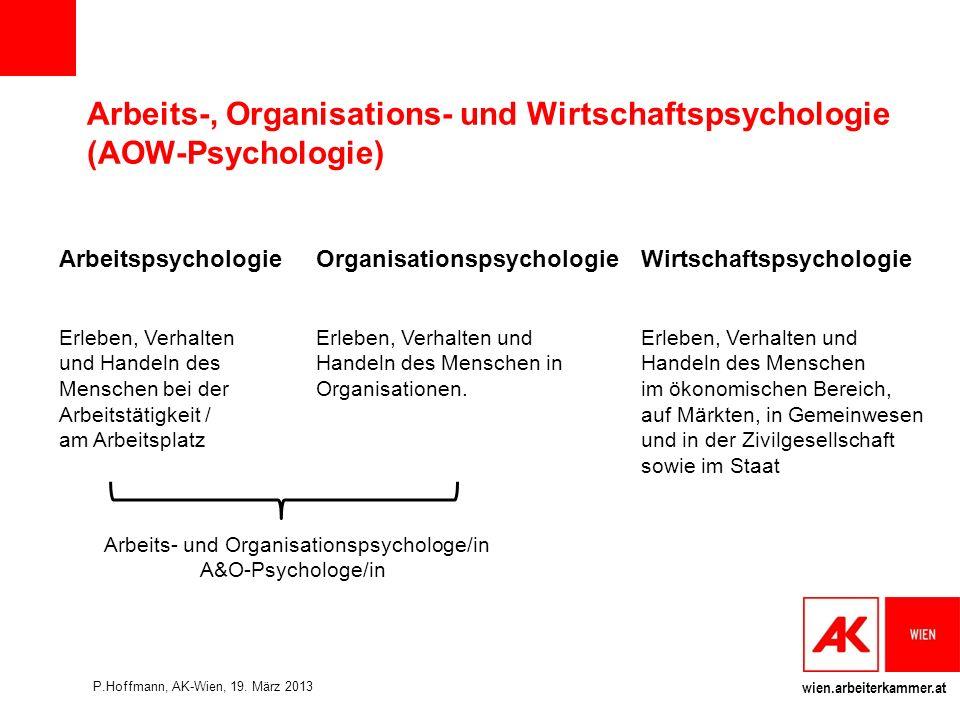 Arbeits-, Organisations- und Wirtschaftspsychologie (AOW-Psychologie)