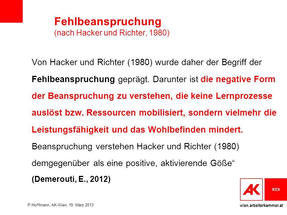 Fehlbeanspruchung (nach Hacker und Richter, 1980)