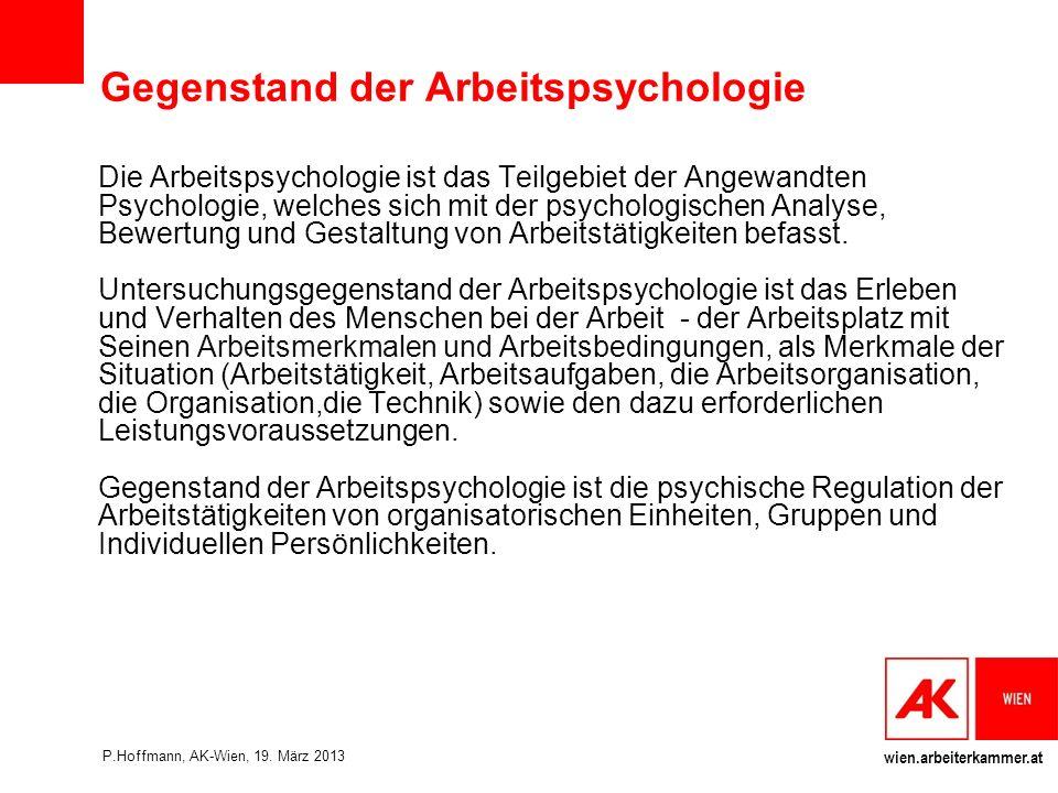Gegenstand der Arbeitspsychologie