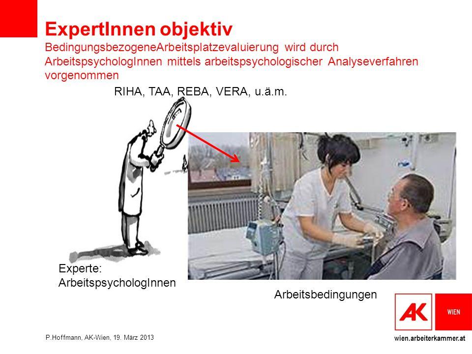 ExpertInnen objektiv BedingungsbezogeneArbeitsplatzevaluierung wird durch ArbeitspsychologInnen mittels arbeitspsychologischer Analyseverfahren vorgenommen