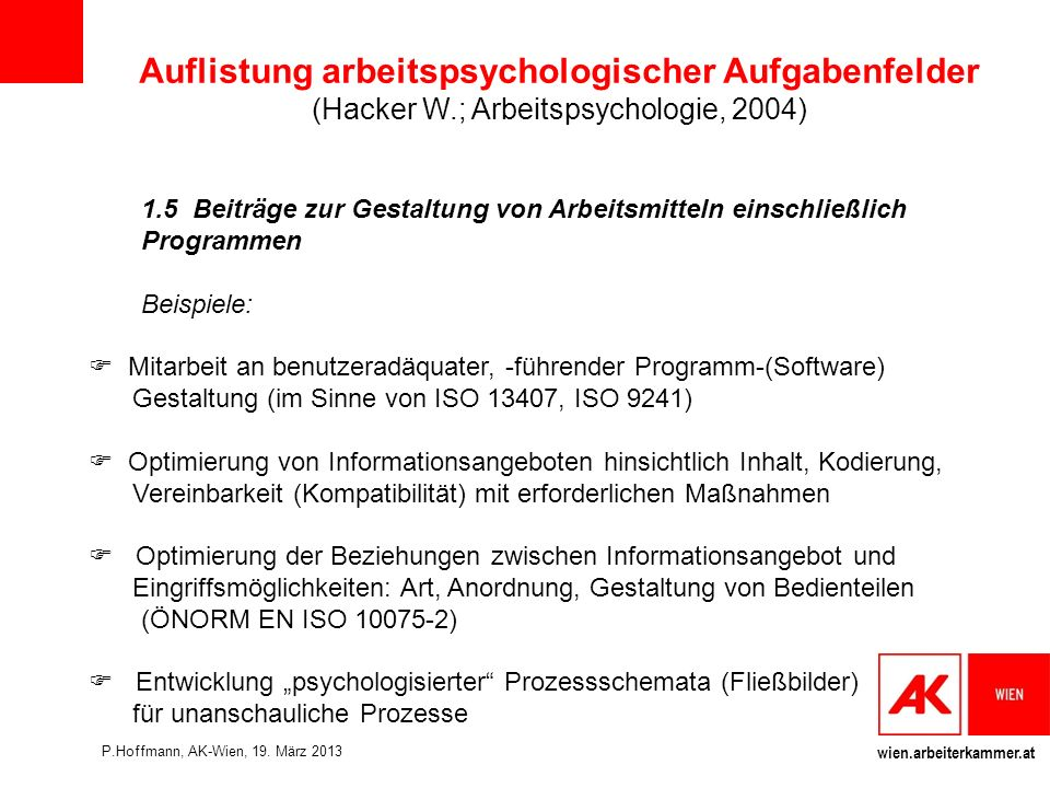 Auflistung arbeitspsychologischer Aufgabenfelder (Hacker W