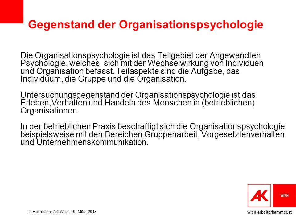 Gegenstand der Organisationspsychologie