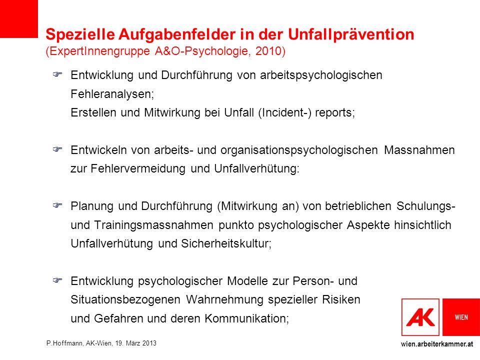 Spezielle Aufgabenfelder in der Unfallprävention (ExpertInnengruppe A&O-Psychologie, 2010)
