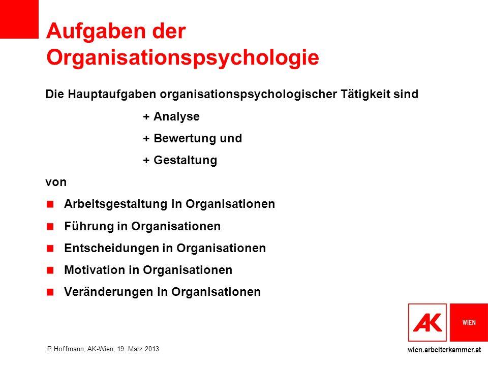Aufgaben der Organisationspsychologie