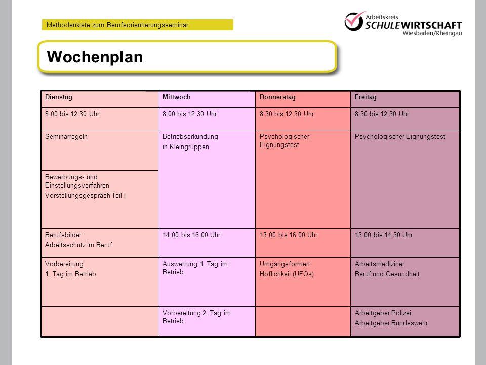 Wochenplan 13.10.06 Arbeitgeber Polizei Arbeitgeber Bundeswehr