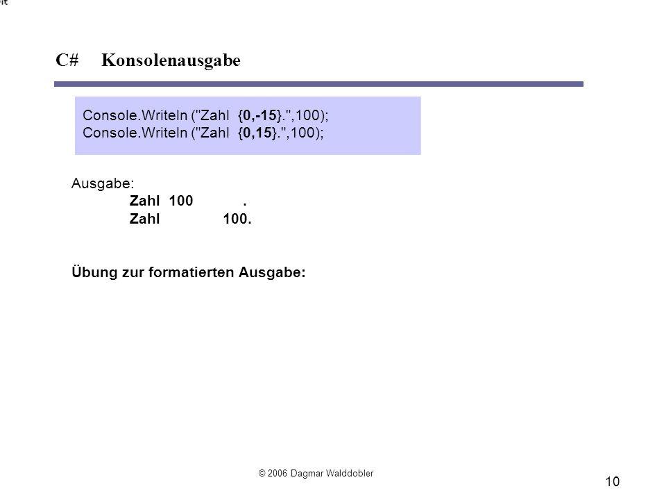 C# Konsolenausgabe Console.Writeln ( Zahl {0,-15}. ,100);