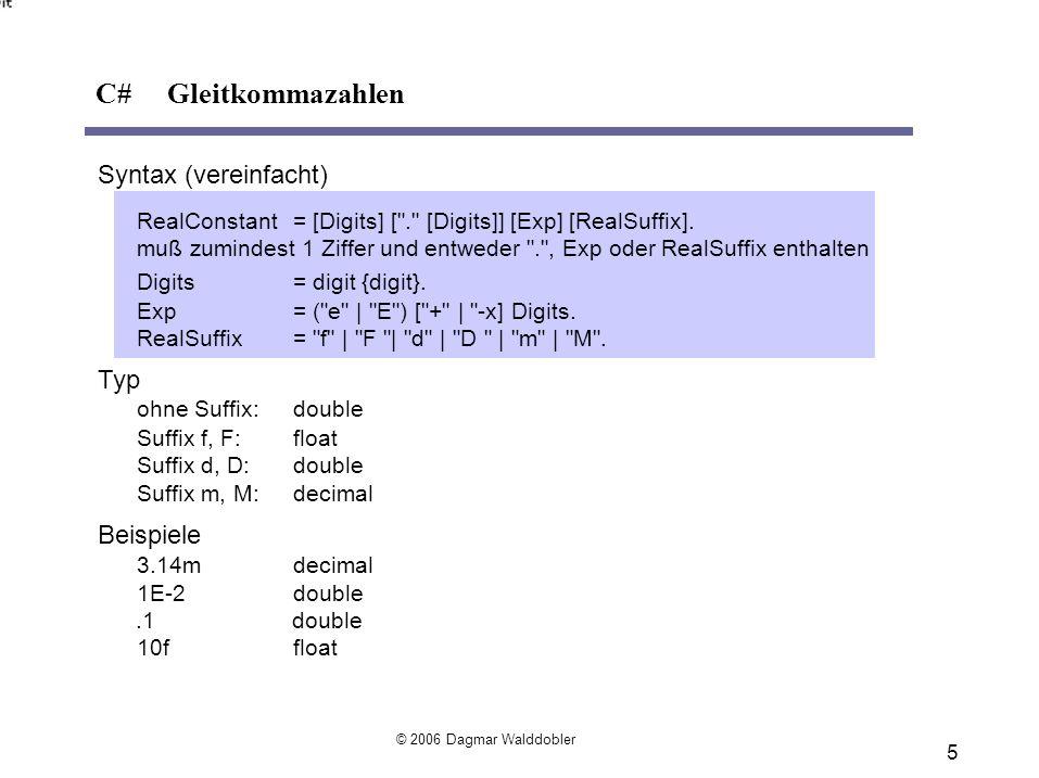 C# Gleitkommazahlen Syntax (vereinfacht) Typ Beispiele