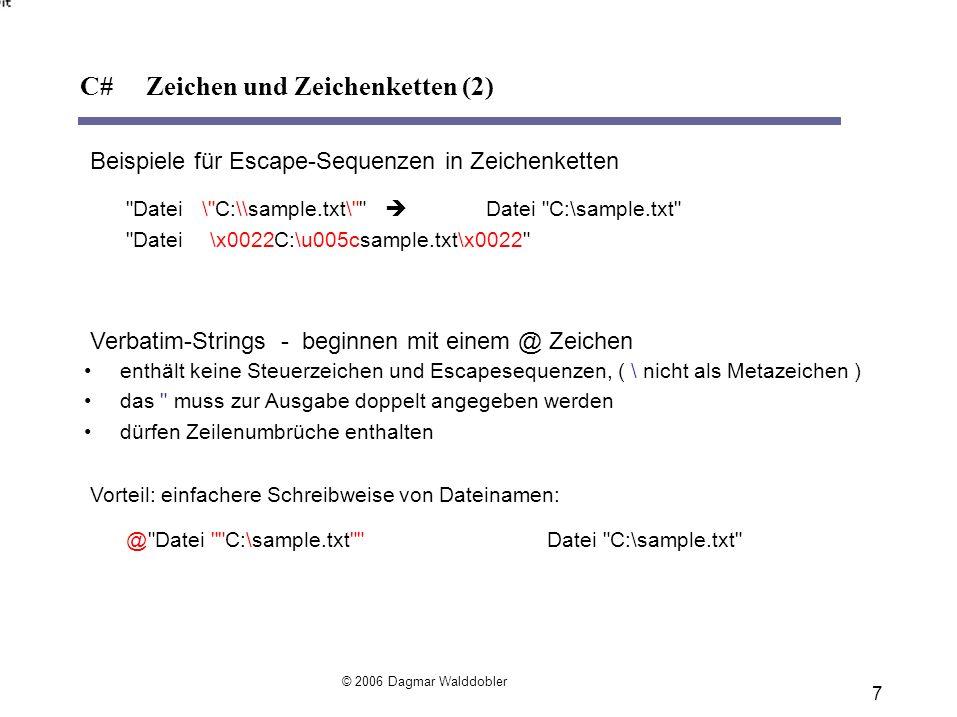 C# Zeichen und Zeichenketten (2)