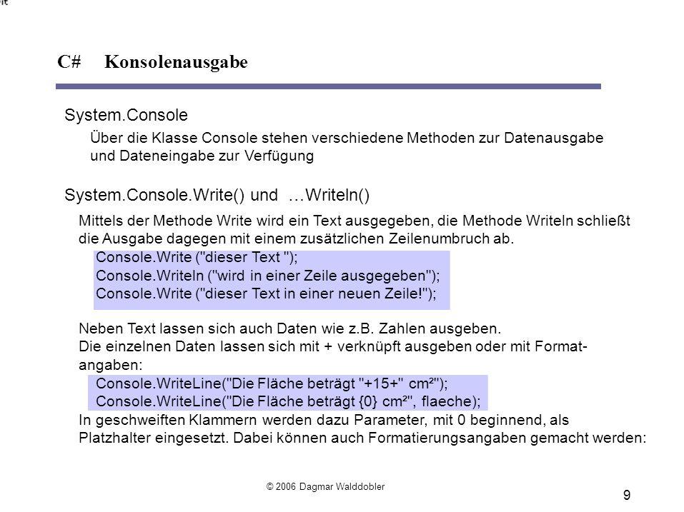C# Konsolenausgabe System.Console
