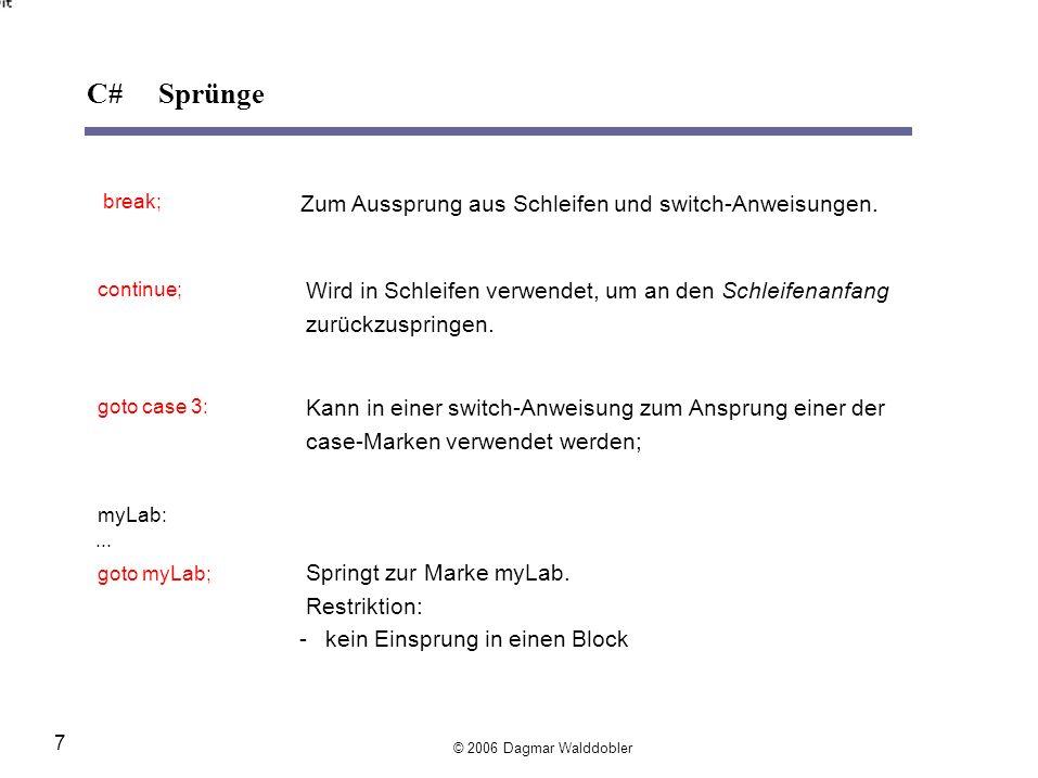 C# Sprünge Zum Aussprung aus Schleifen und switch-Anweisungen.