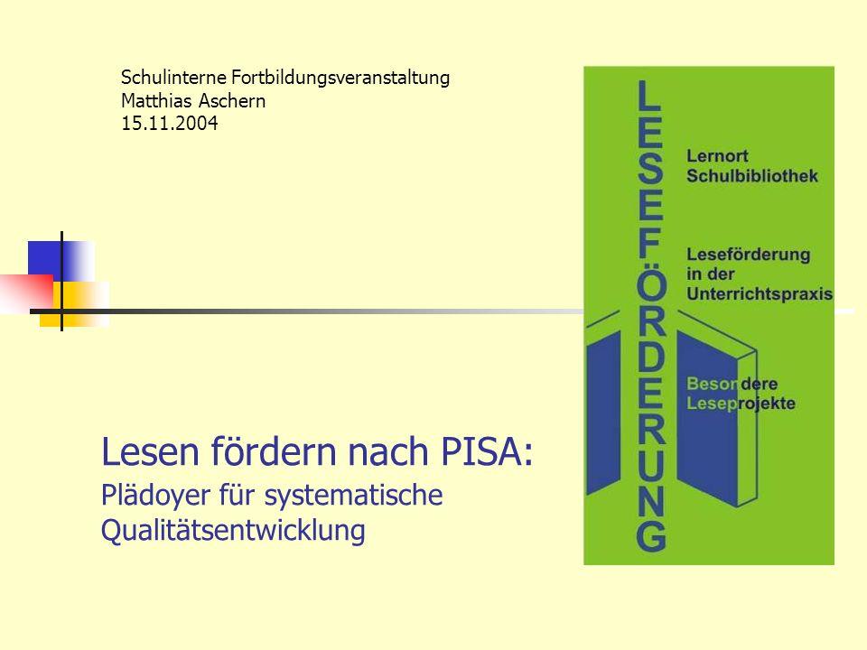 Schulinterne Fortbildungsveranstaltung Matthias Aschern 15.11.2004
