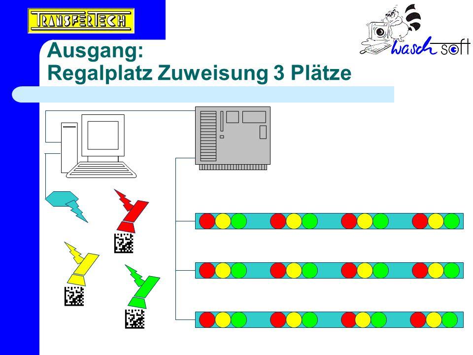 Ausgang: Regalplatz Zuweisung 3 Plätze