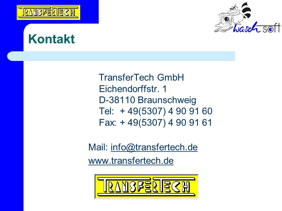 Kontakt TransferTech GmbH Eichendorffstr. 1 D-38110 Braunschweig Tel: + 49(5307) 4 90 91 60 Fax: + 49(5307) 4 90 91 61.