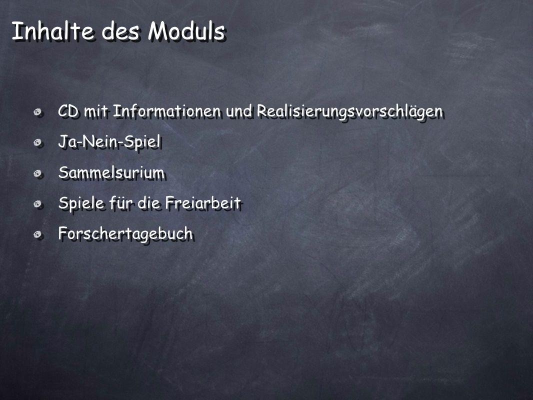 Inhalte des Moduls CD mit Informationen und Realisierungsvorschlägen