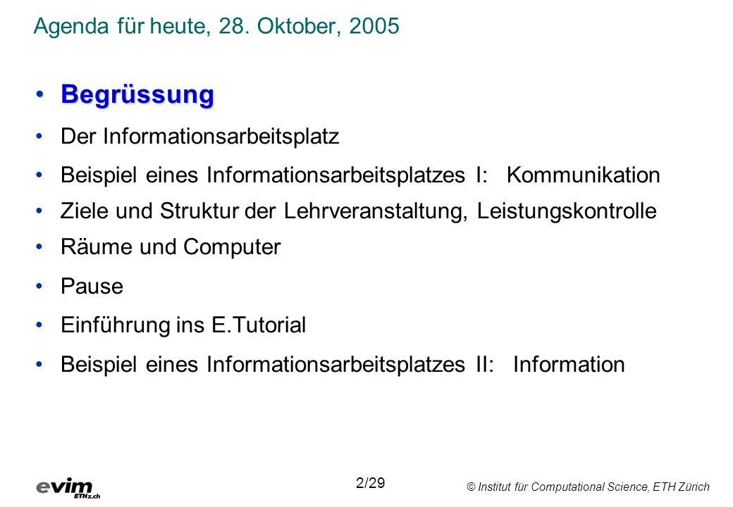 Agenda für heute, 28. Oktober, 2005