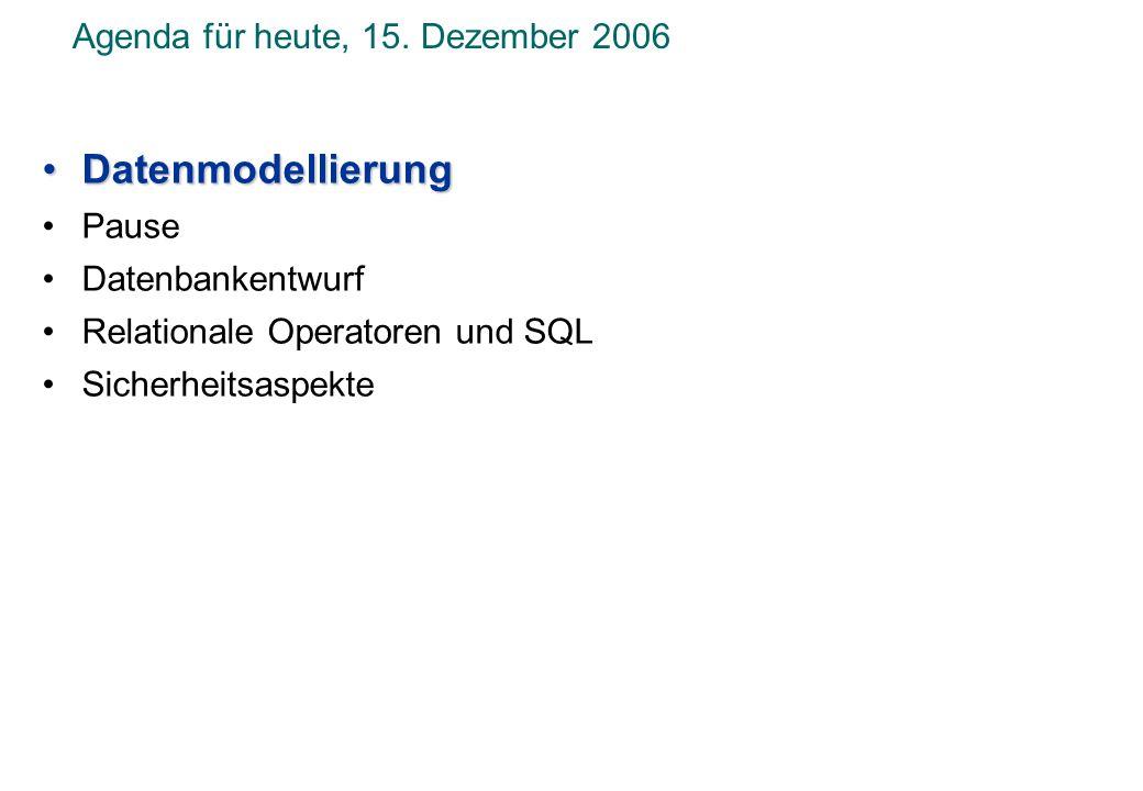Agenda für heute, 15. Dezember 2006