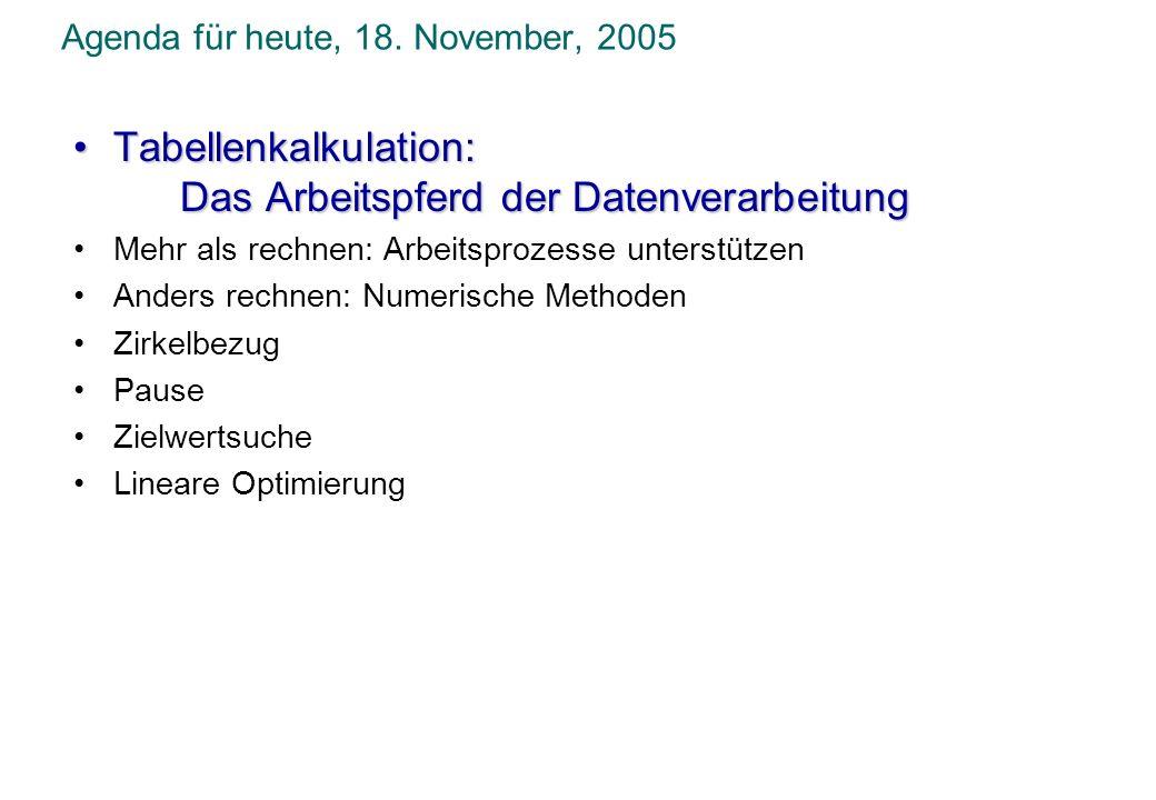 Agenda für heute, 18. November, 2005