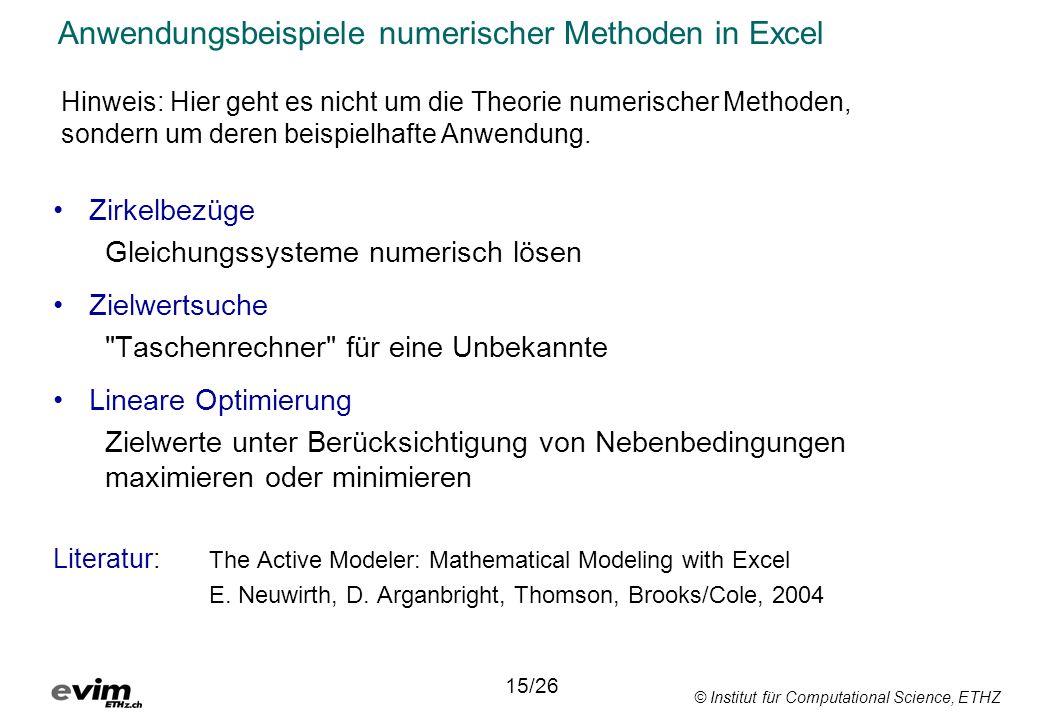 Anwendungsbeispiele numerischer Methoden in Excel