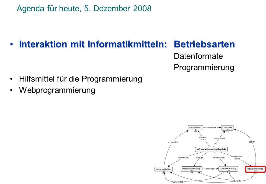 Agenda für heute, 5. Dezember 2008
