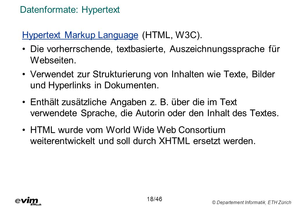 Datenformate: Hypertext
