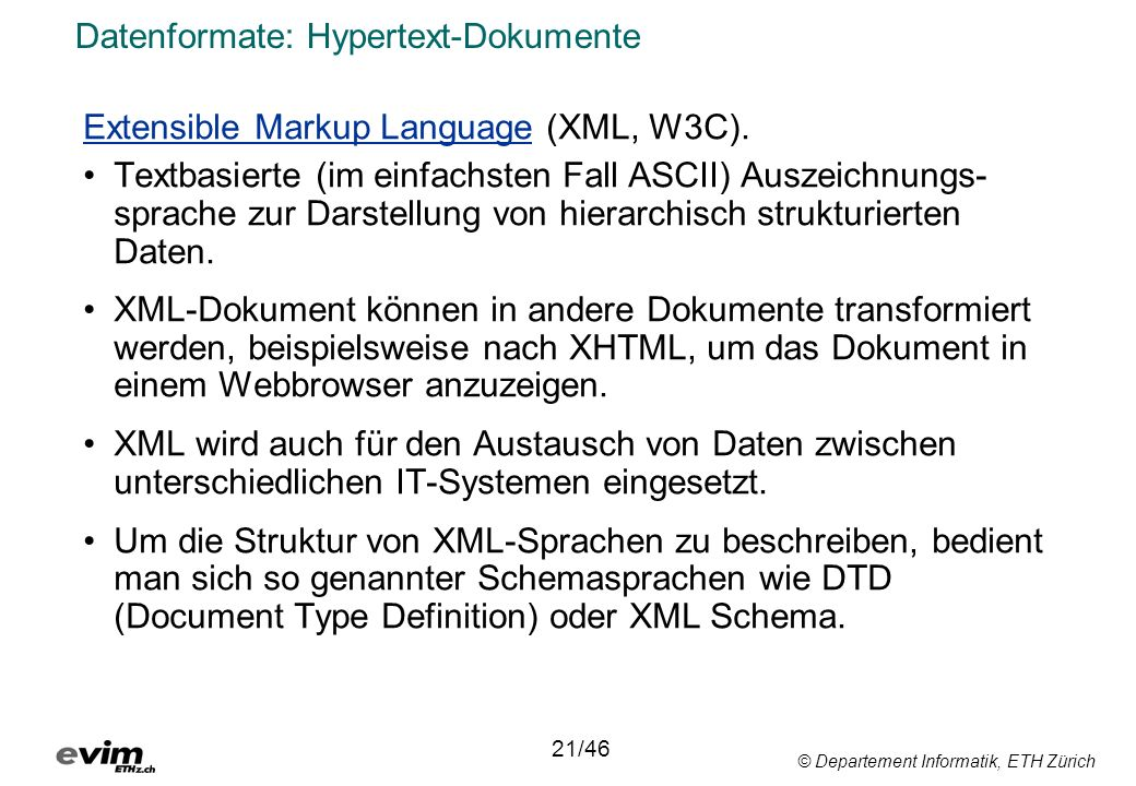 Datenformate: Hypertext-Dokumente
