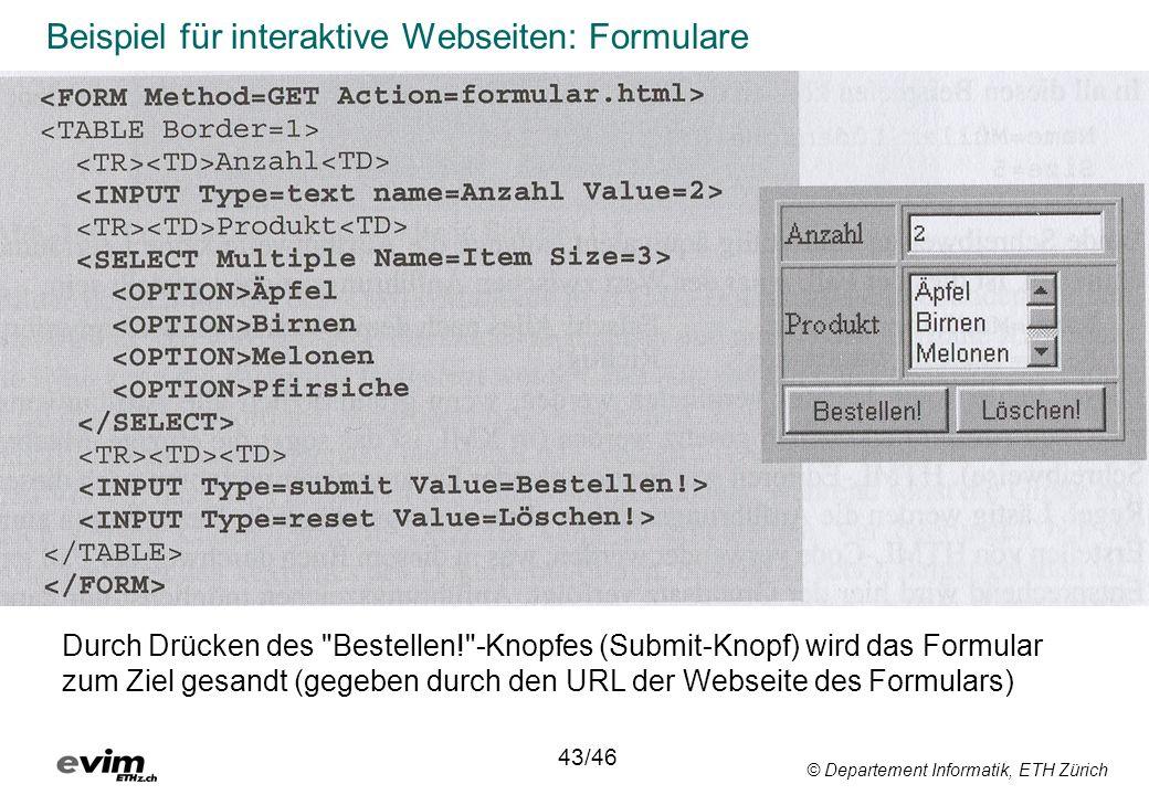 Beispiel für interaktive Webseiten: Formulare