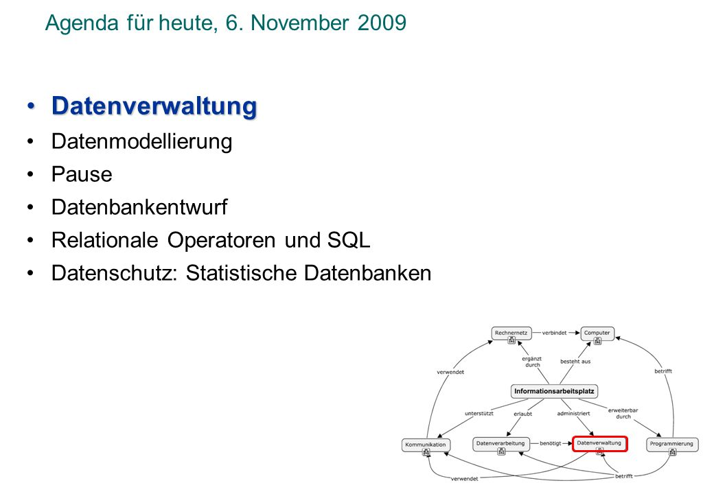 Agenda für heute, 6. November 2009