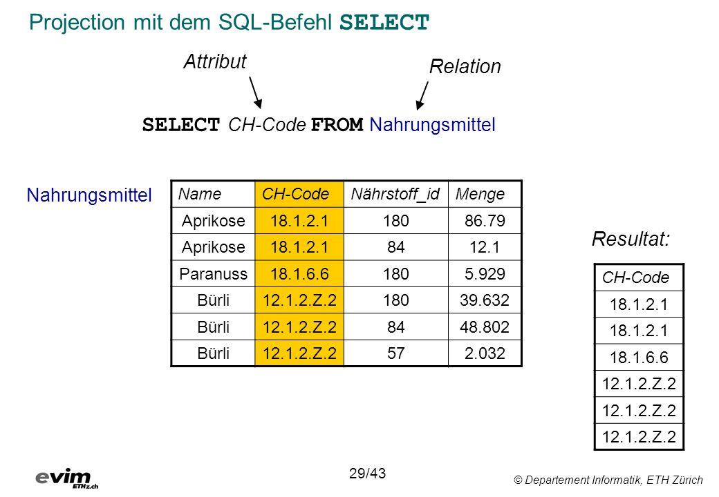 Projection mit dem SQL-Befehl SELECT