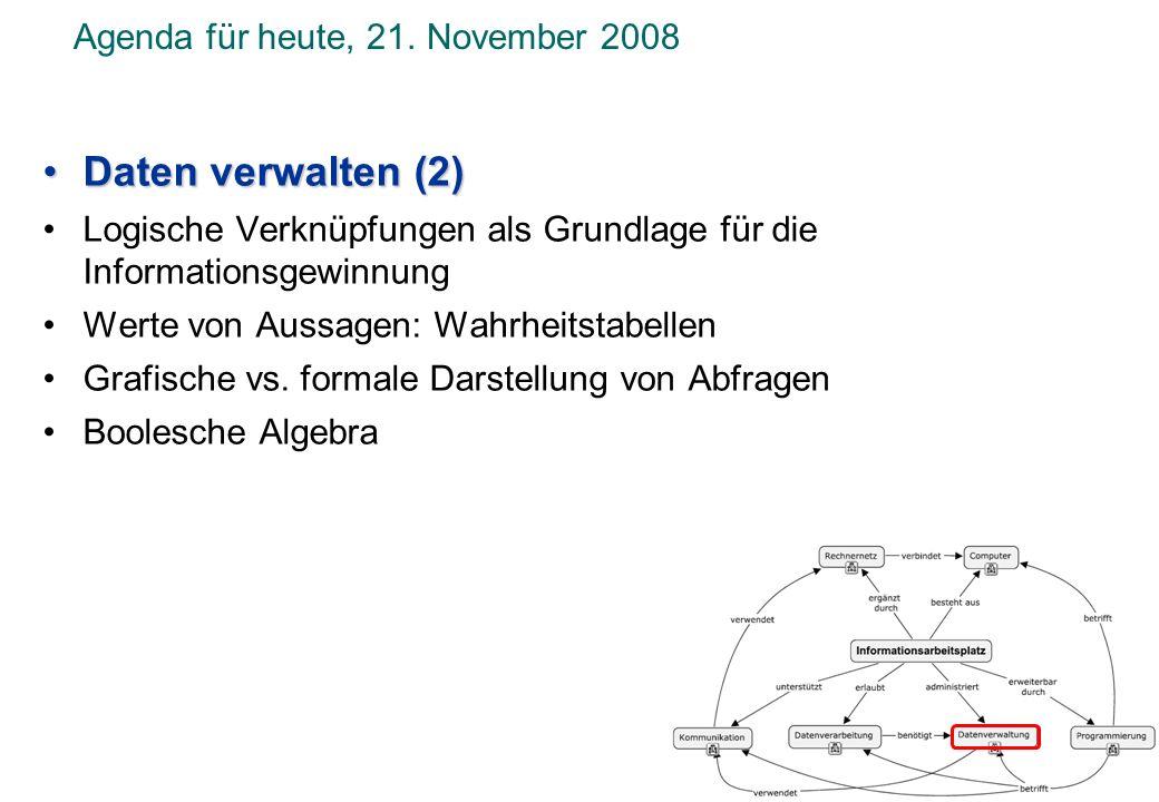 Agenda für heute, 21. November 2008