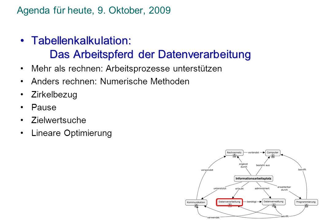 Agenda für heute, 9. Oktober, 2009