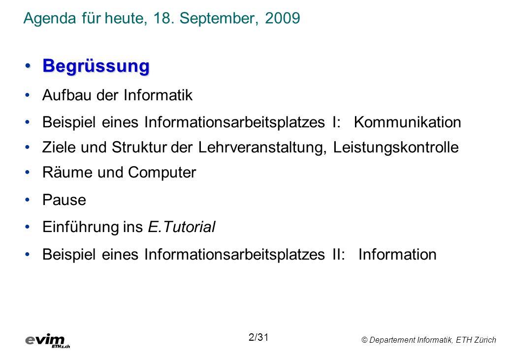 Agenda für heute, 18. September, 2009