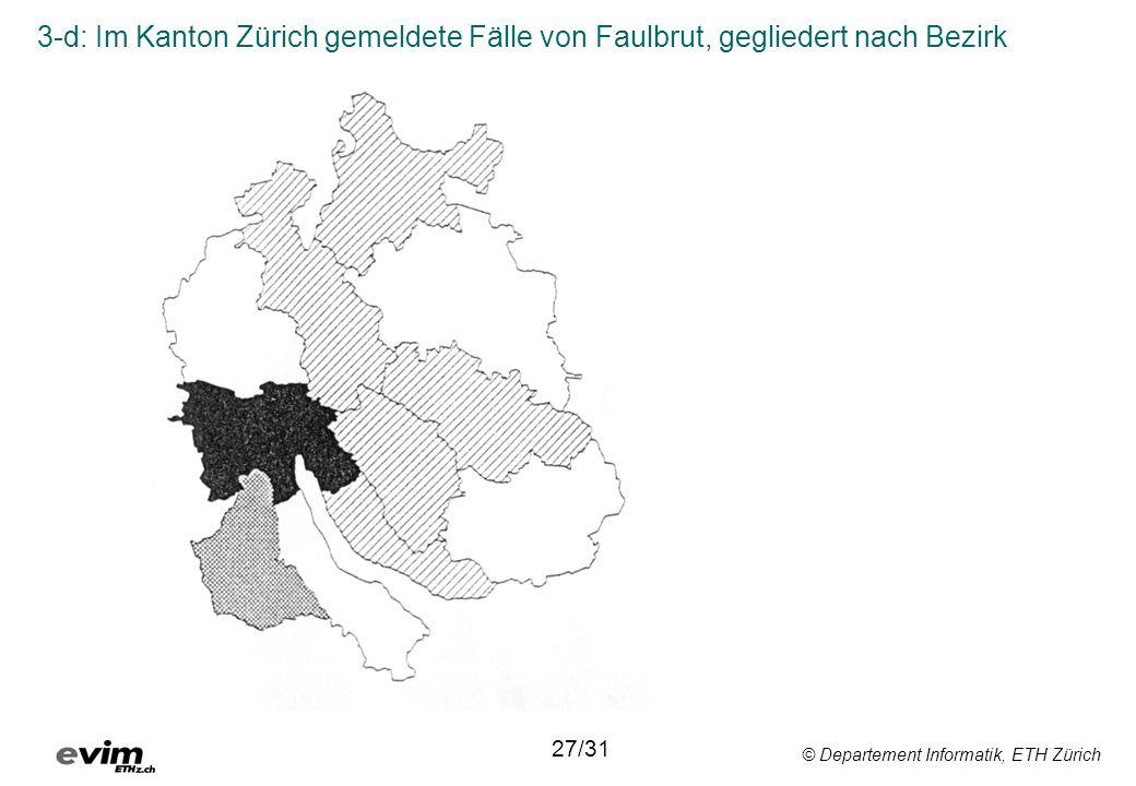 3-d: Im Kanton Zürich gemeldete Fälle von Faulbrut, gegliedert nach Bezirk